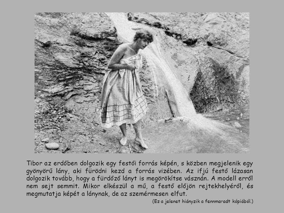Tibor az erdőben dolgozik egy festői forrás képén, s közben megjelenik egy gyönyörű lány, aki fürödni kezd a forrás vizében. Az ifjú festő lázasan dolgozik tovább, hogy a fürdőző lányt is megörökítse vásznán. A modell erről nem sejt semmit. Mikor elkészül a mű, a festő előjön rejtekhelyéről, és megmutatja képét a lánynak, de az szemérmesen elfut.