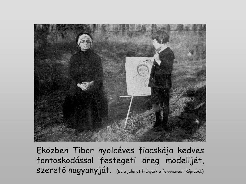 Eközben Tibor nyolcéves fiacskája kedves fontoskodással festegeti öreg modelljét, szerető nagyanyját.