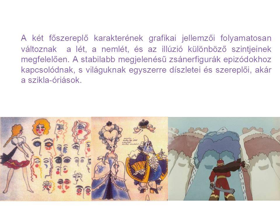 A két főszereplő karakterének grafikai jellemzői folyamatosan változnak a lét, a nemlét, és az illúzió különböző szintjeinek megfelelően.