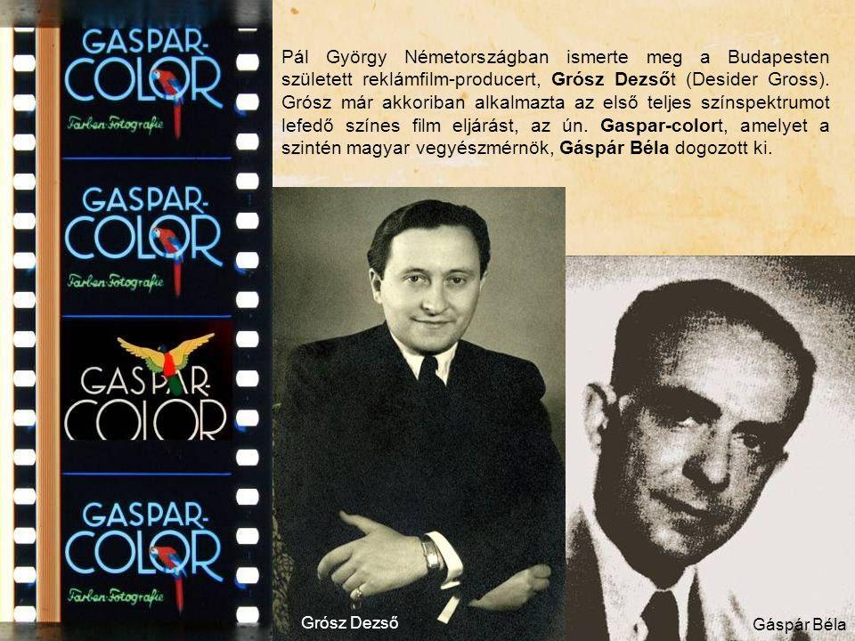 Pál György Németországban ismerte meg a Budapesten született reklámfilm-producert, Grósz Dezsőt (Desider Gross). Grósz már akkoriban alkalmazta az első teljes színspektrumot lefedő színes film eljárást, az ún. Gaspar-colort, amelyet a szintén magyar vegyészmérnök, Gáspár Béla dogozott ki.