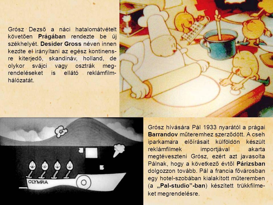 Grósz Dezső a náci hatalomátvételt követően Prágában rendezte be új székhelyét. Desider Gross néven innen kezdte el irányítani az egész kontinens-re kiterjedő, skandináv, holland, de olykor svájci vagy osztrák meg-rendeléseket is ellátó reklámfilm-hálózatát.
