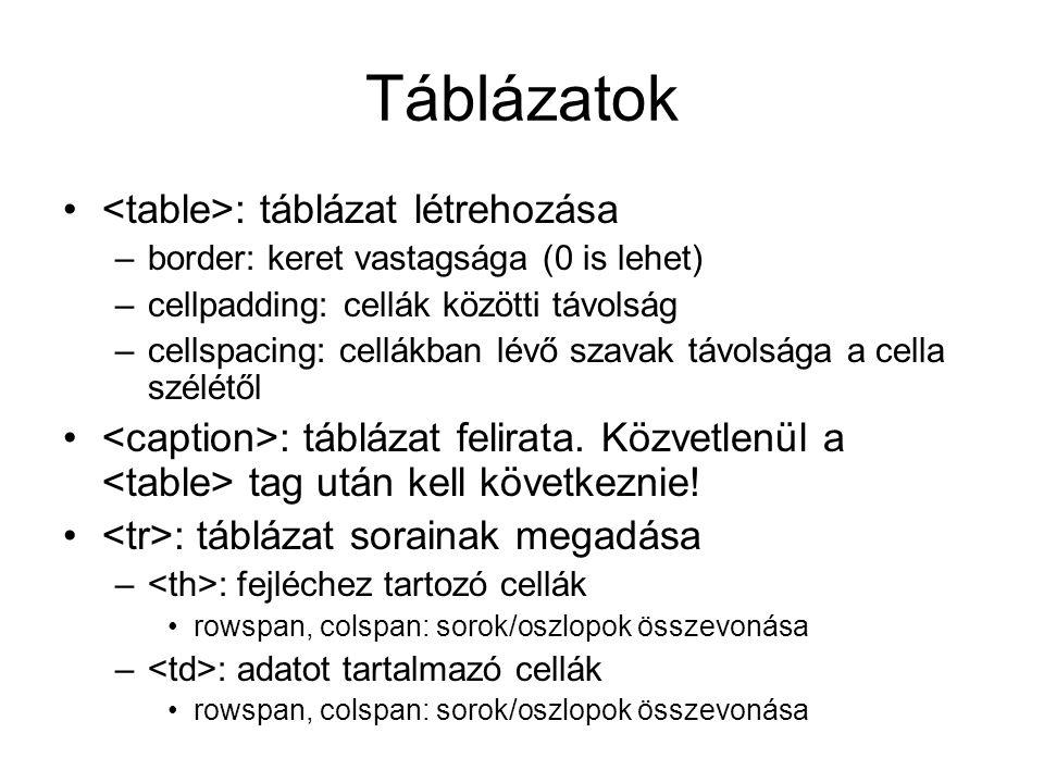 Táblázatok <table>: táblázat létrehozása
