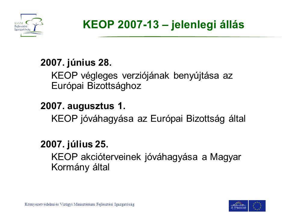KEOP 2007-13 – jelenlegi állás