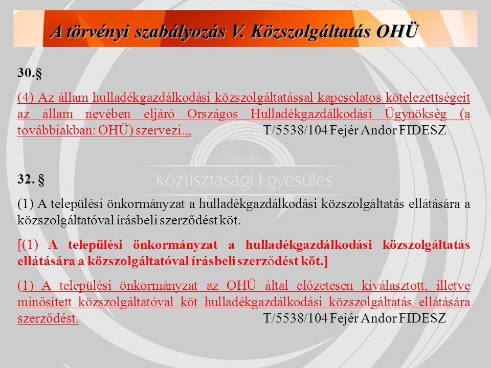 A törvényi szabályozás V. Közszolgáltatás OHÜ