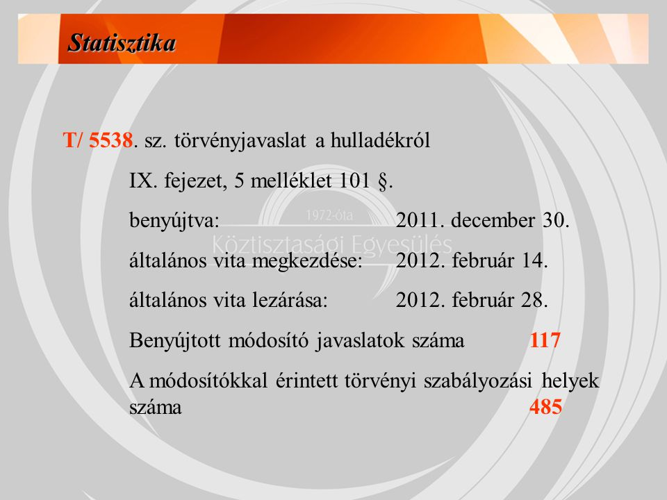 Statisztika T/ 5538. sz. törvényjavaslat a hulladékról