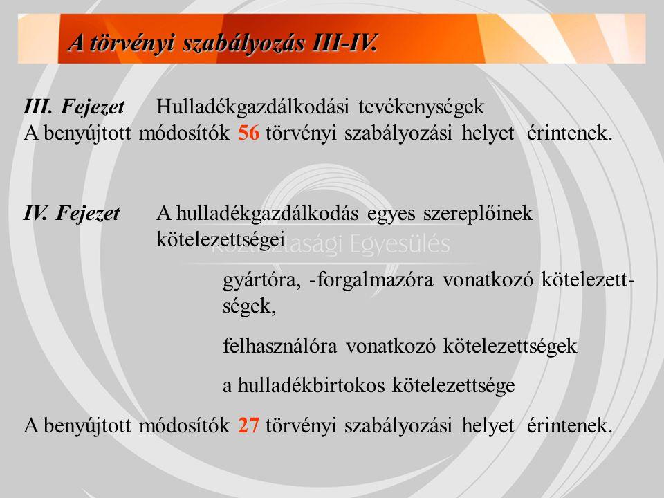 A törvényi szabályozás III-IV.