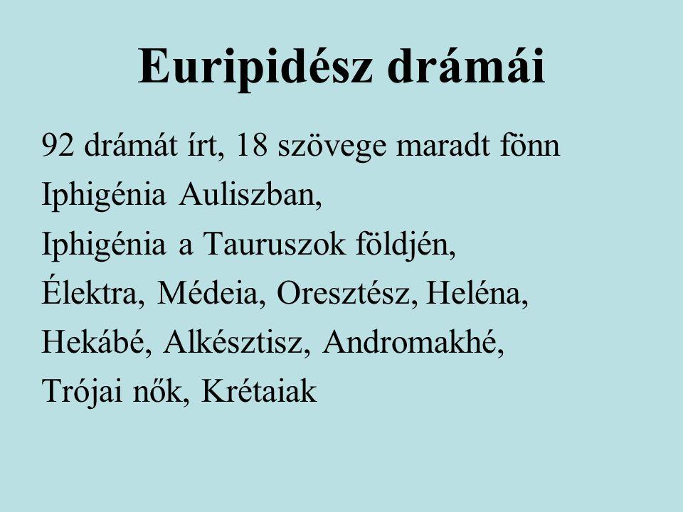 Euripidész drámái 92 drámát írt, 18 szövege maradt fönn