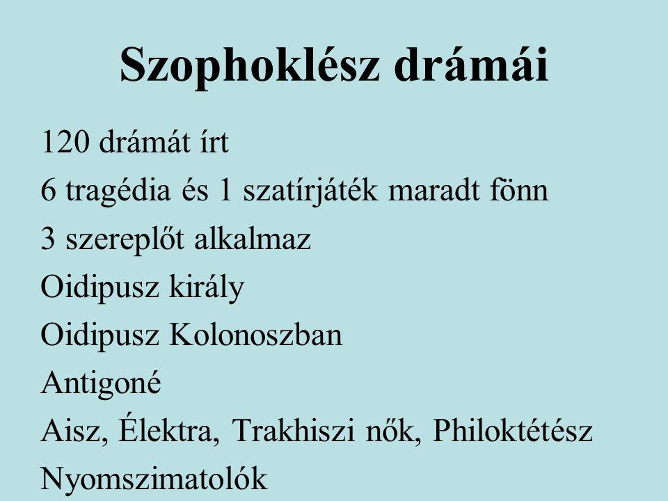 Szophoklész drámái 120 drámát írt