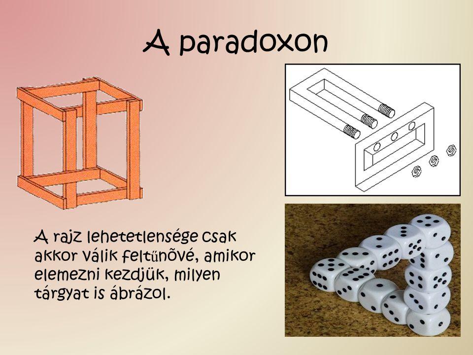 A paradoxon A rajz lehetetlensége csak akkor válik feltűnõvé, amikor elemezni kezdjük, milyen tárgyat is ábrázol.