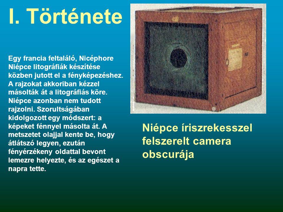 I. Története Niépce íriszrekesszel felszerelt camera obscurája