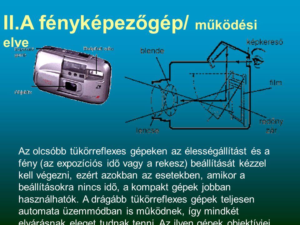 II.A fényképezőgép/ működési elve