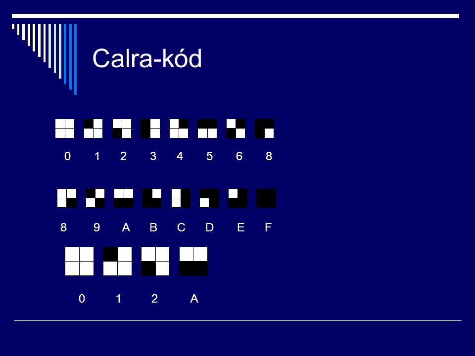 Calra-kód 0 1 2 3 4 5 6 8. 8 9 A B C D E F.