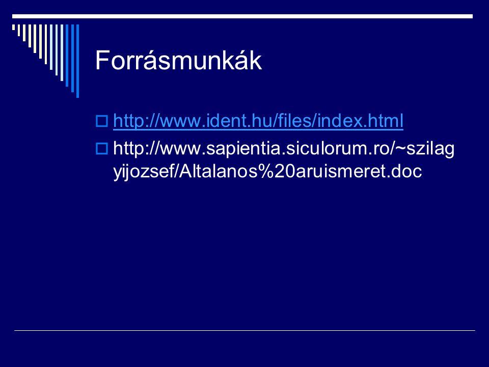 Forrásmunkák http://www.ident.hu/files/index.html