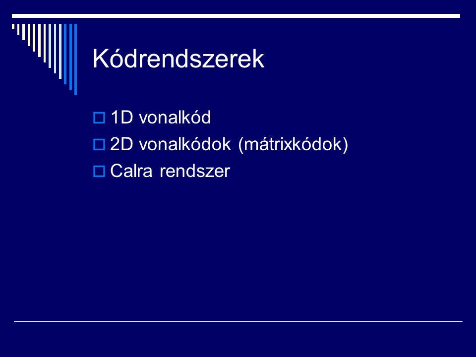 Kódrendszerek 1D vonalkód 2D vonalkódok (mátrixkódok) Calra rendszer