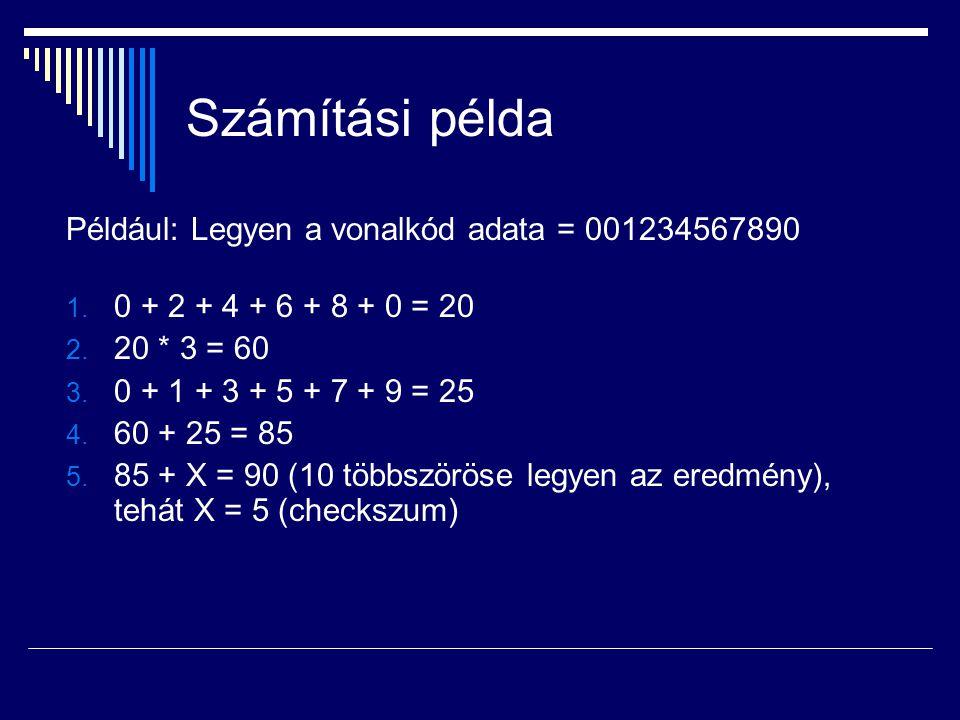 Számítási példa Például: Legyen a vonalkód adata = 001234567890
