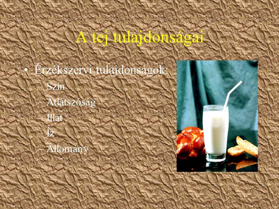 A tej tulajdonságai Érzékszervi tulajdonságok: Szín Átlátszóság Illat