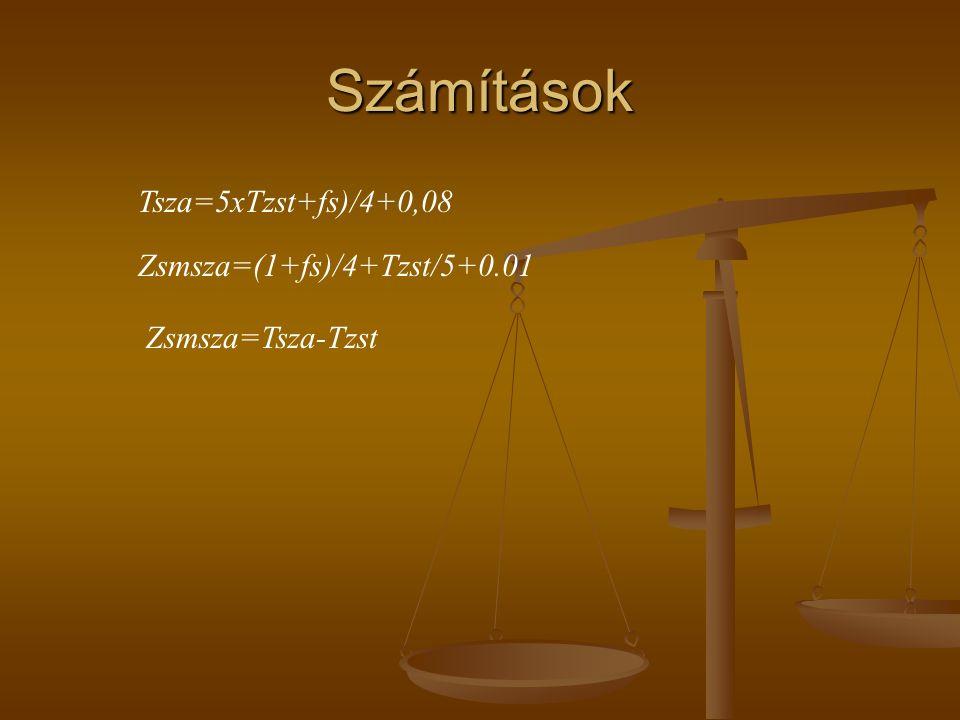 Számítások Tsza=5xTzst+fs)/4+0,08 Zsmsza=(1+fs)/4+Tzst/5+0.01