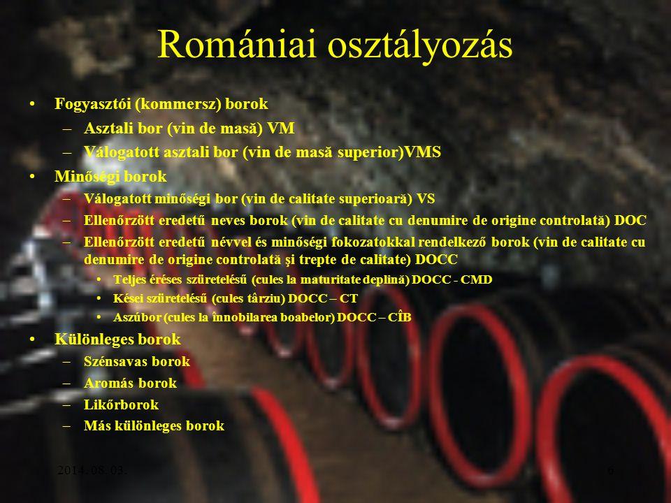 Romániai osztályozás Fogyasztói (kommersz) borok