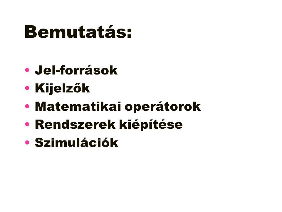 Bemutatás: Jel-források Kijelzők Matematikai operátorok