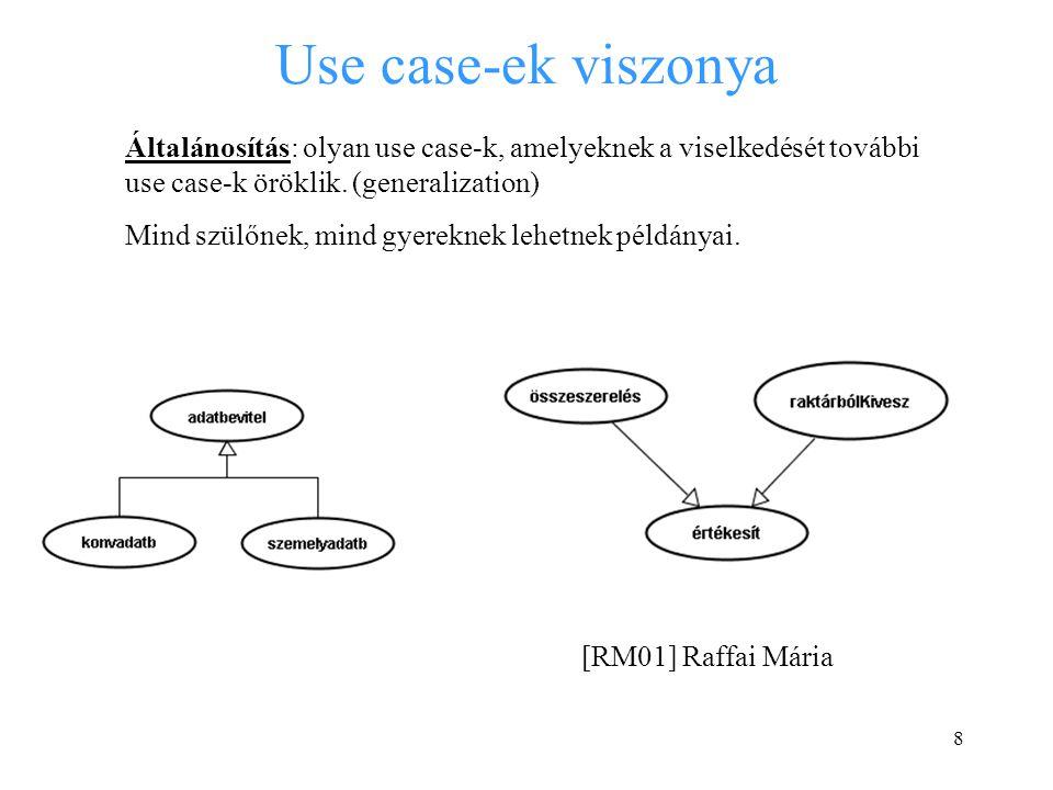 Use case-ek viszonya Általánosítás: olyan use case-k, amelyeknek a viselkedését további use case-k öröklik. (generalization)