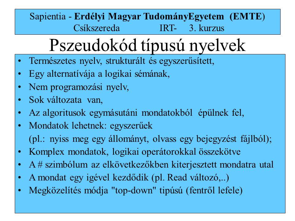 Pszeudokód típusú nyelvek