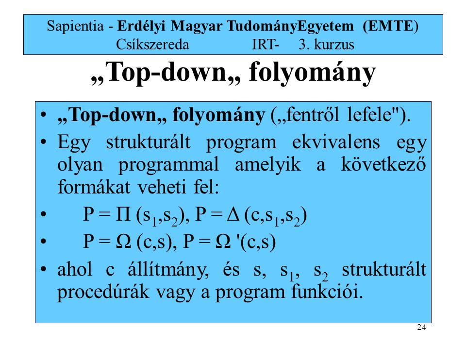 """Top-down"" folyomány ""Top-down"" folyomány (""fentről lefele )."