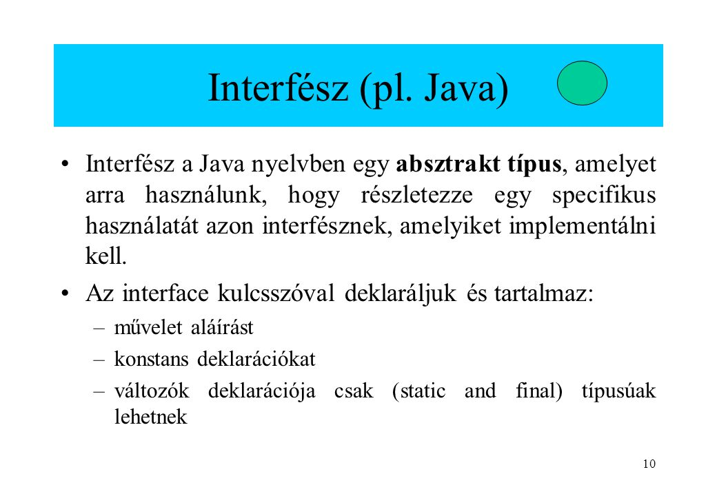 Interfész (pl. Java)