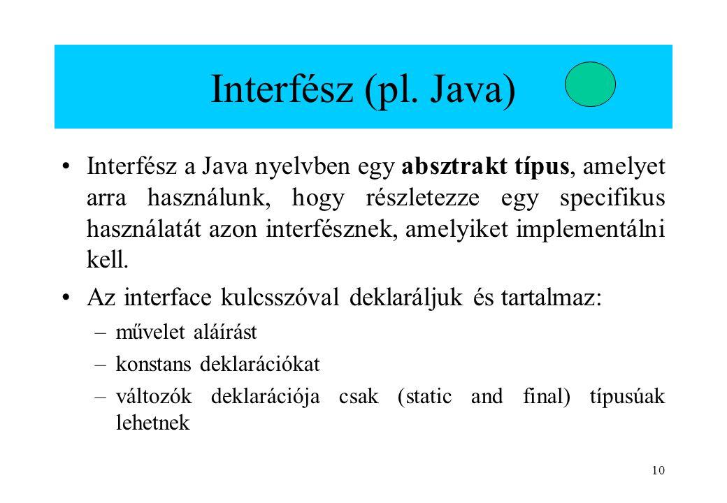 Interfész (pl. Java)