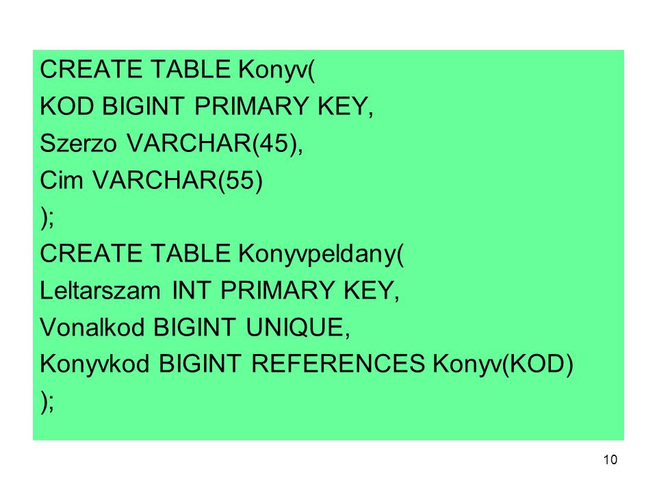 CREATE TABLE Konyv( KOD BIGINT PRIMARY KEY, Szerzo VARCHAR(45), Cim VARCHAR(55) ); CREATE TABLE Konyvpeldany(