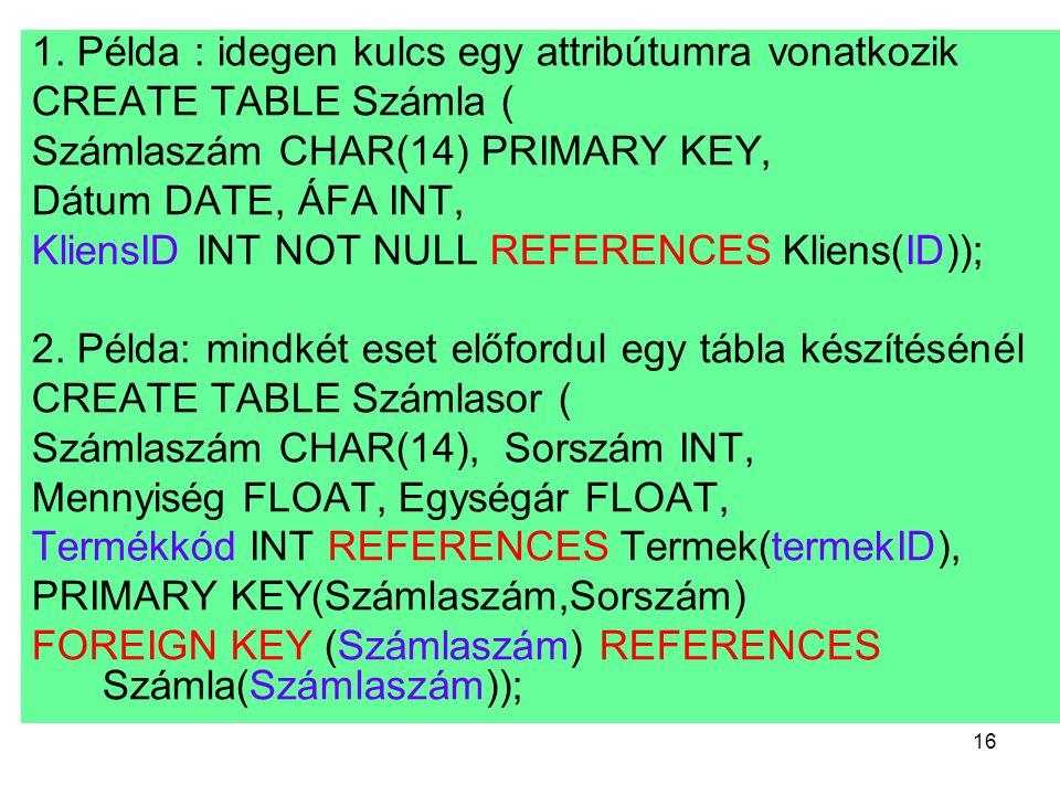 1. Példa : idegen kulcs egy attribútumra vonatkozik