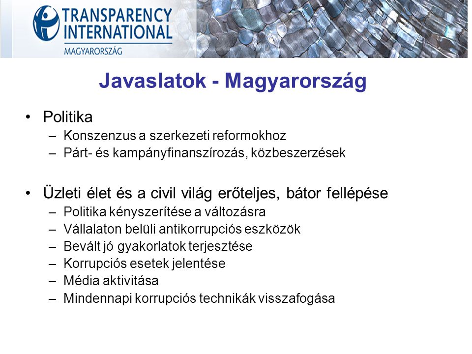 Javaslatok - Magyarország