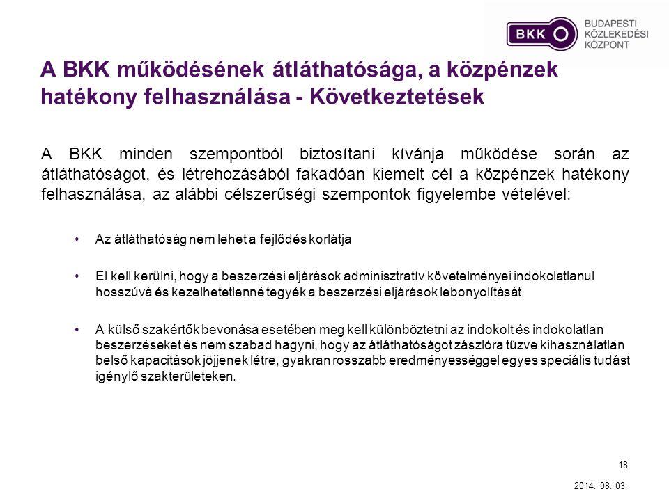 A BKK működésének átláthatósága, a közpénzek hatékony felhasználása - Következtetések