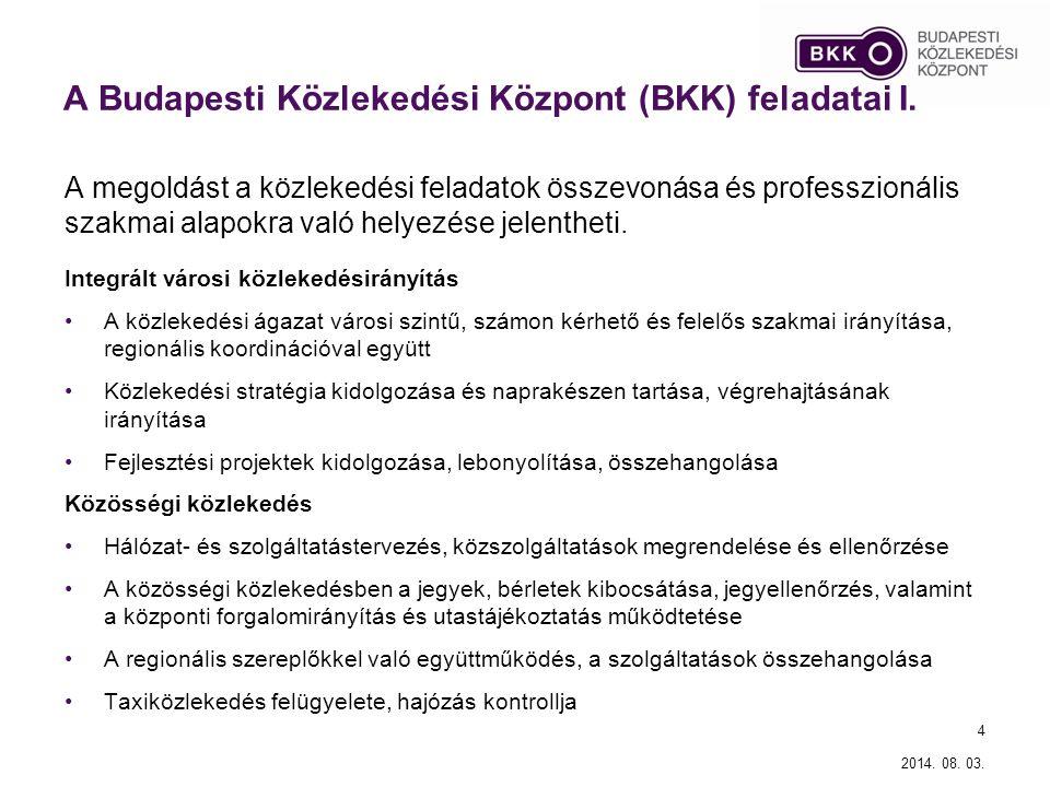A Budapesti Közlekedési Központ (BKK) feladatai I.