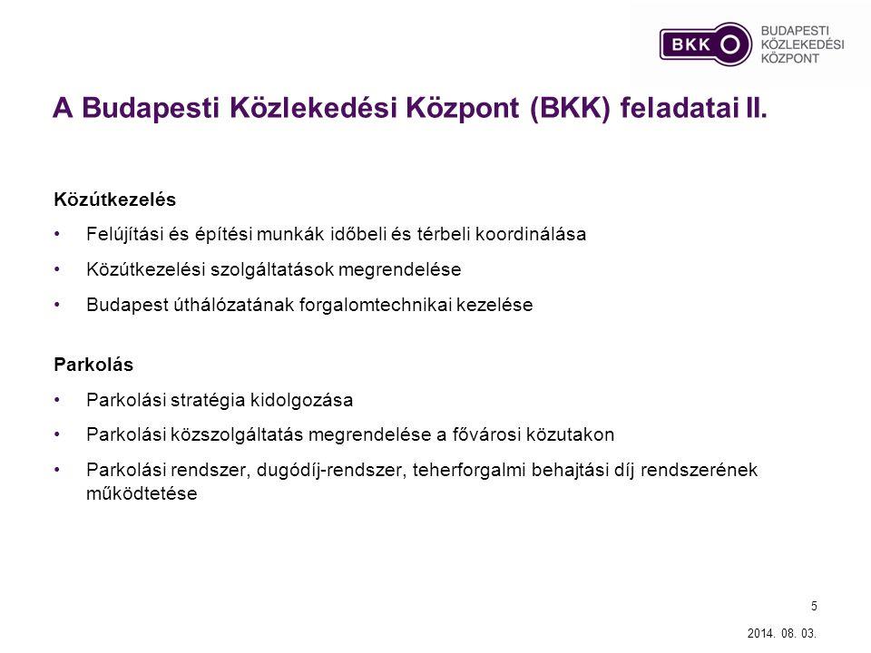 A Budapesti Közlekedési Központ (BKK) feladatai II.