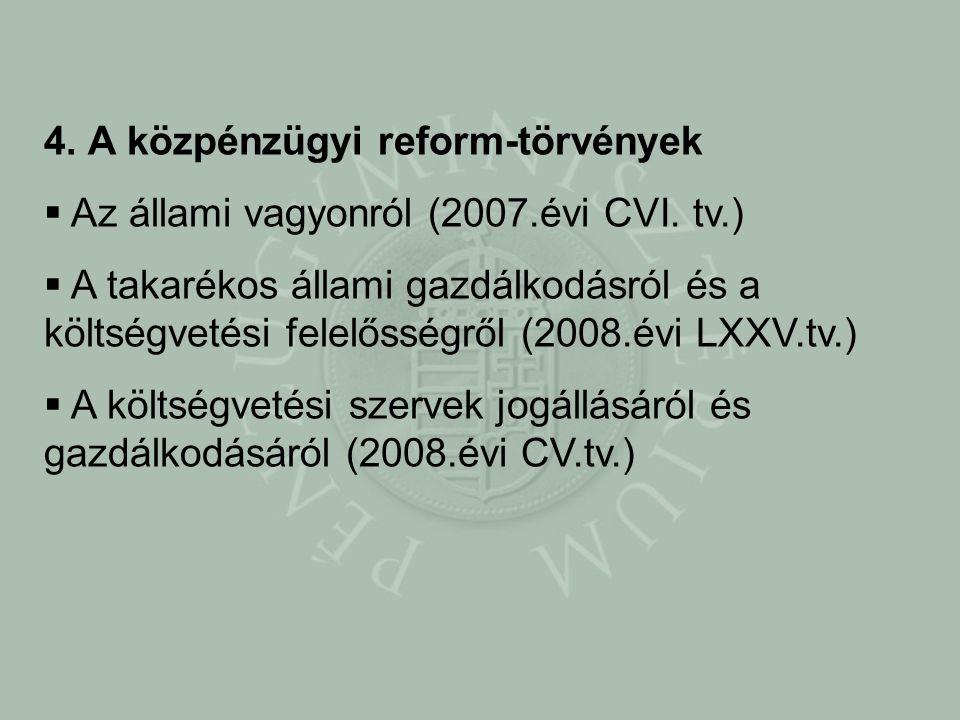 4. A közpénzügyi reform-törvények