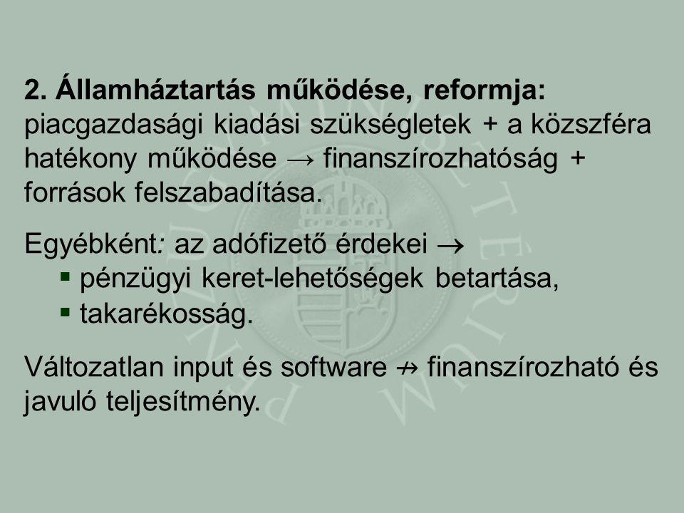 2. Államháztartás működése, reformja: piacgazdasági kiadási szükségletek + a közszféra hatékony működése → finanszírozhatóság + források felszabadítása.