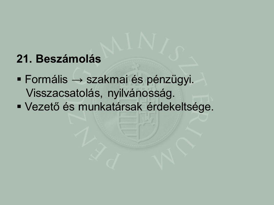 21. Beszámolás Formális → szakmai és pénzügyi. Visszacsatolás, nyilvánosság.