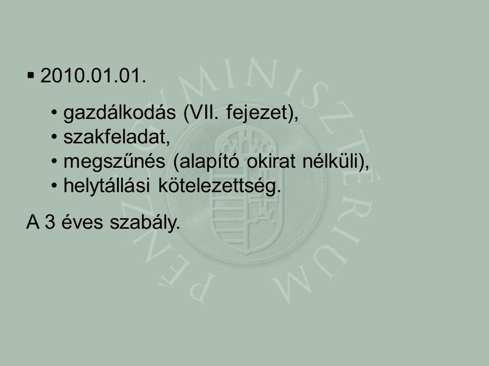 2010.01.01. gazdálkodás (VII. fejezet), szakfeladat, megszűnés (alapító okirat nélküli), helytállási kötelezettség.