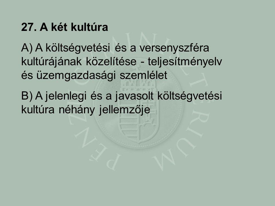 27. A két kultúra A) A költségvetési és a versenyszféra kultúrájának közelítése - teljesítményelv és üzemgazdasági szemlélet.