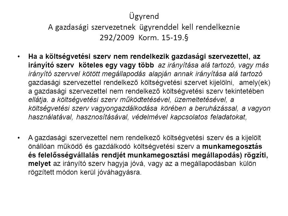 Ügyrend A gazdasági szervezetnek ügyrenddel kell rendelkeznie 292/2009 Korm. 15-19.§