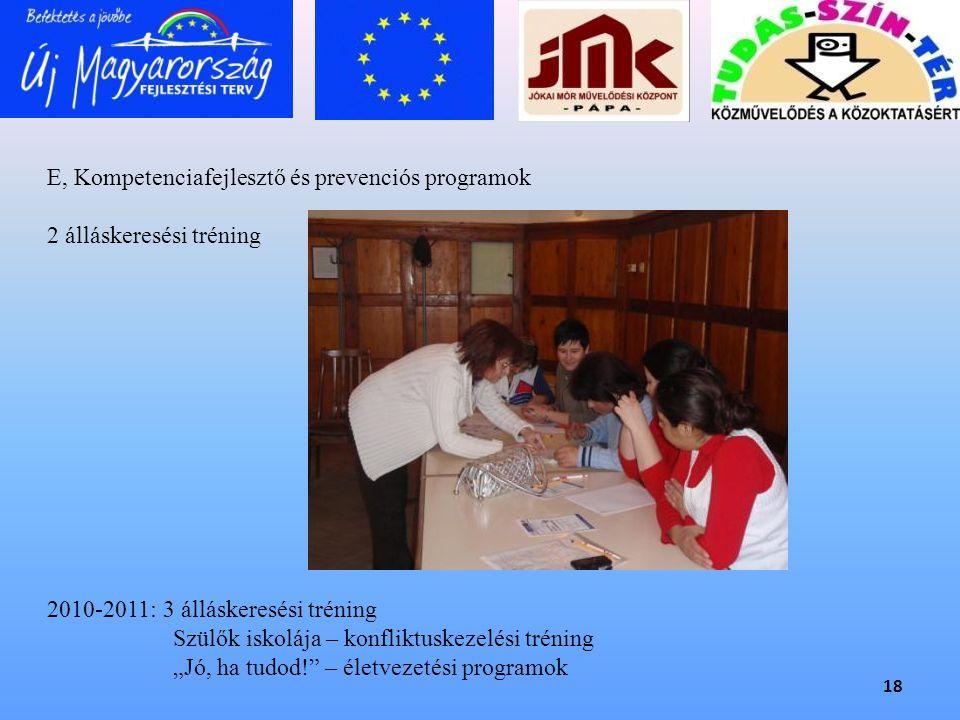 E, Kompetenciafejlesztő és prevenciós programok