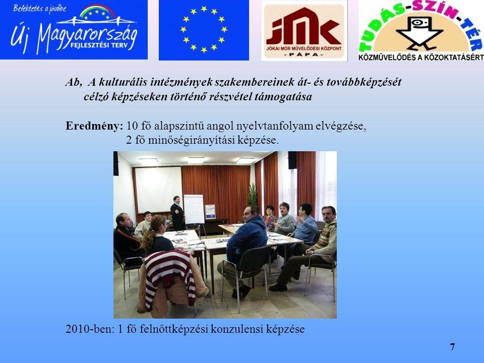 Ab, A kulturális intézmények szakembereinek át- és továbbképzését célzó képzéseken történő részvétel támogatása