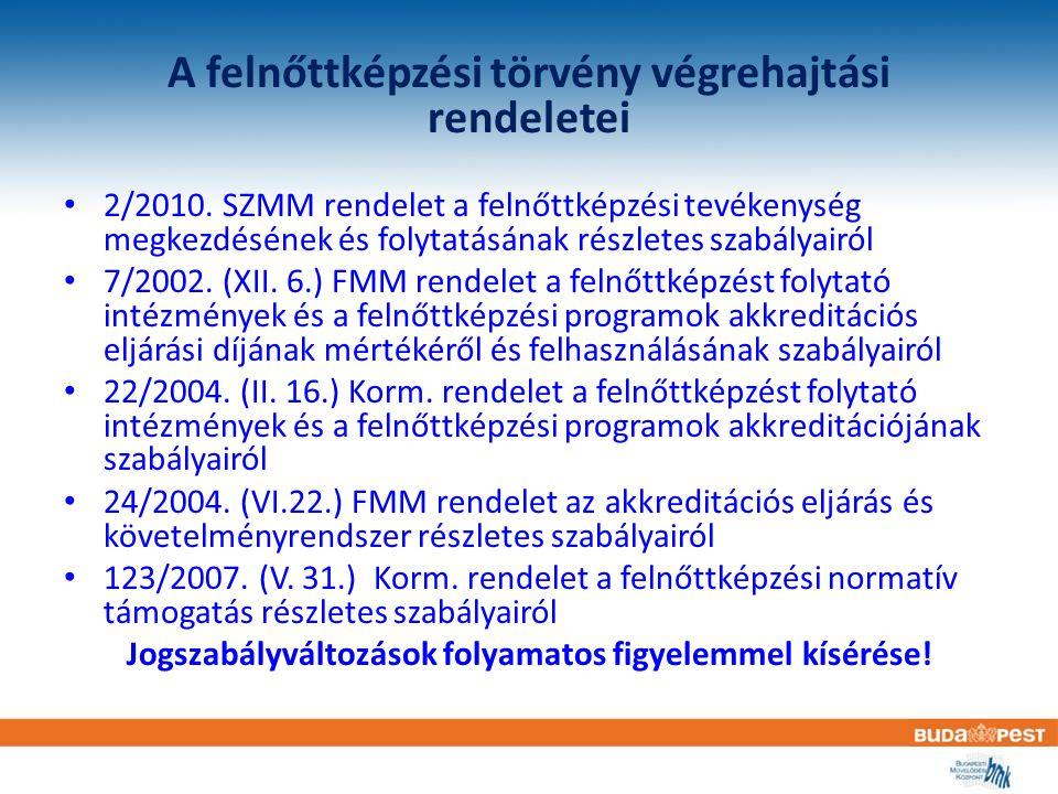 A felnőttképzési törvény végrehajtási rendeletei