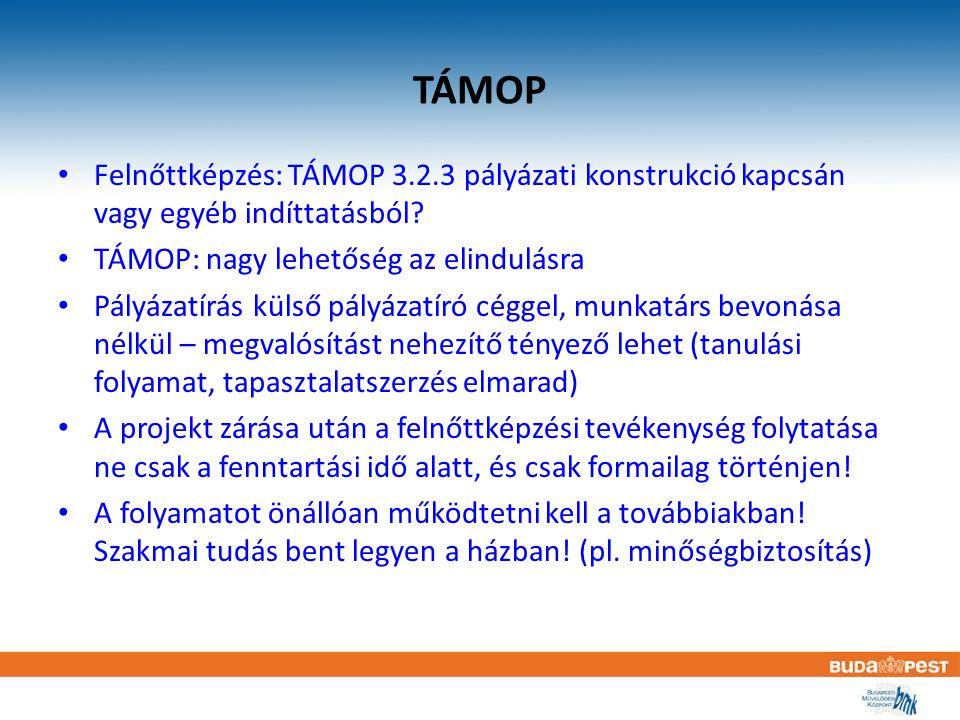TÁMOP Felnőttképzés: TÁMOP 3.2.3 pályázati konstrukció kapcsán vagy egyéb indíttatásból TÁMOP: nagy lehetőség az elindulásra.