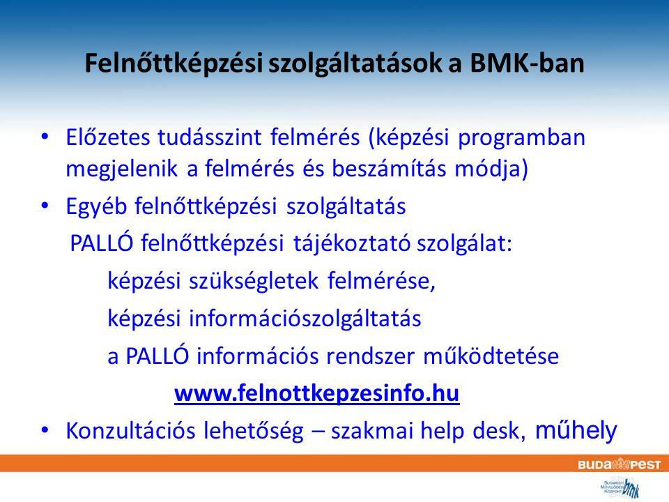 Felnőttképzési szolgáltatások a BMK-ban