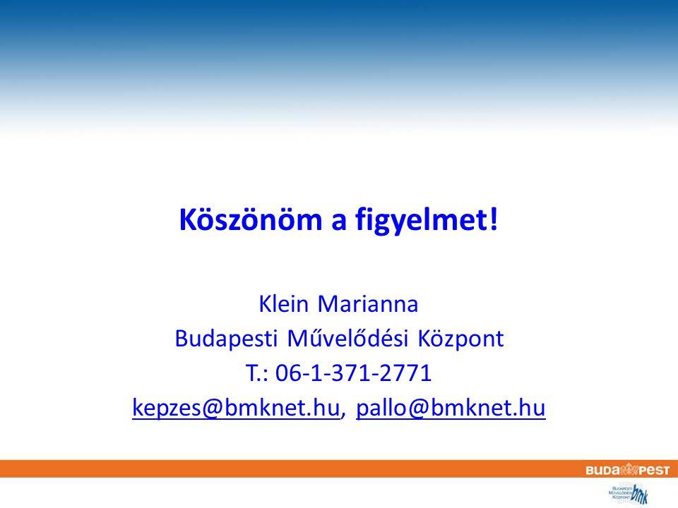 Köszönöm a figyelmet! Klein Marianna Budapesti Művelődési Központ