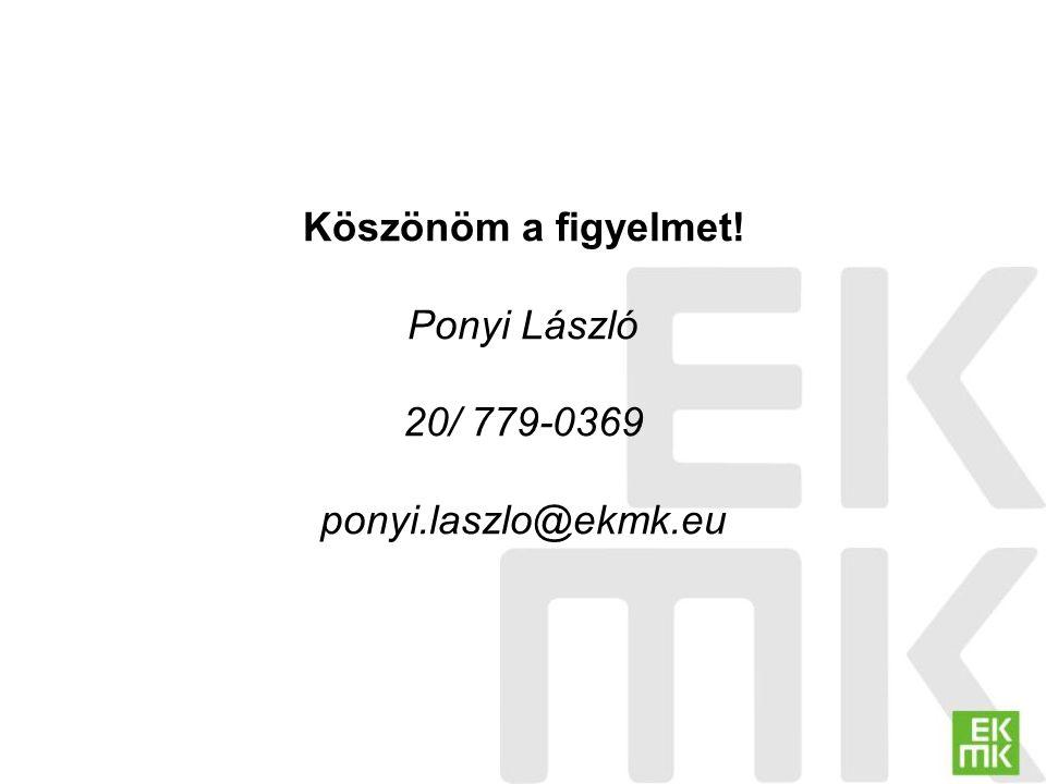 Köszönöm a figyelmet! Ponyi László 20/ 779-0369 ponyi.laszlo@ekmk.eu