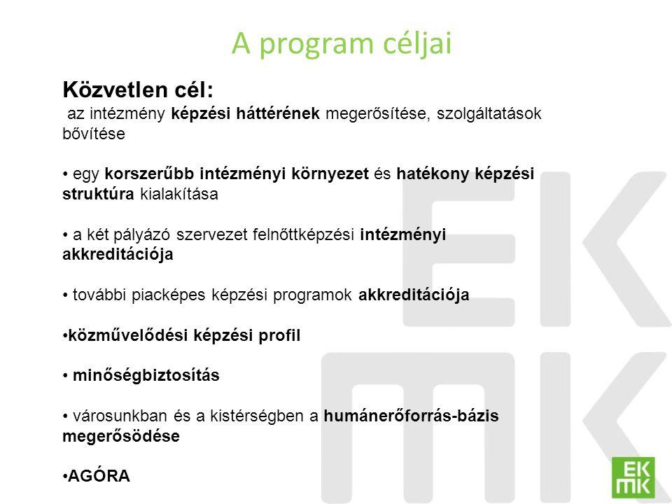 A program céljai Közvetlen cél: