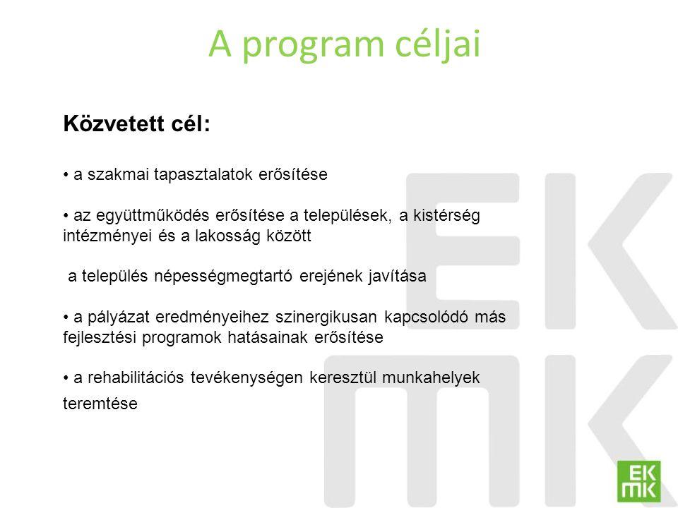 A program céljai Közvetett cél: a szakmai tapasztalatok erősítése