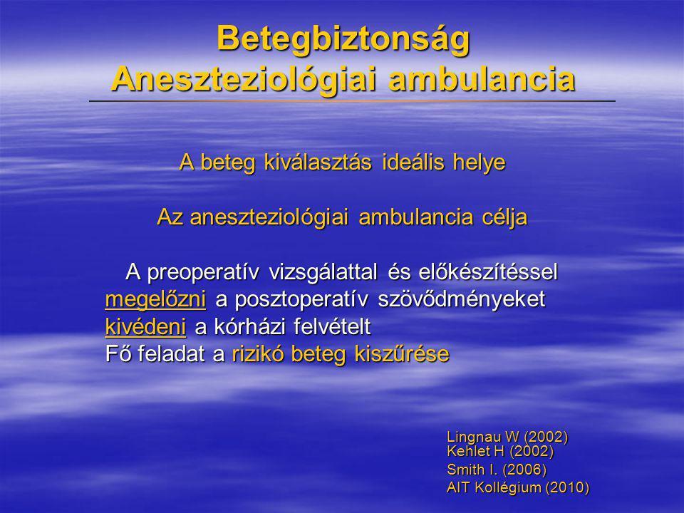 Betegbiztonság Aneszteziológiai ambulancia